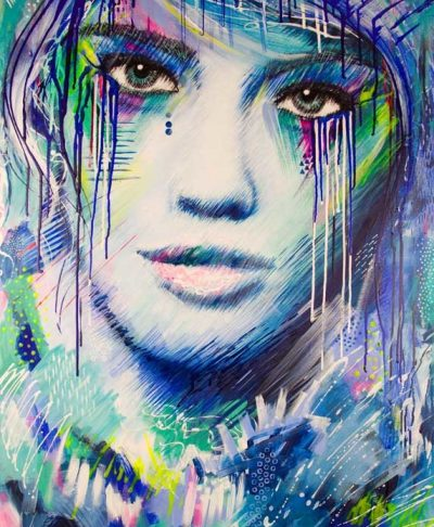 Big Girls Don't Cry original acrylic on canvas female portrait painting by Australian artist Kate Fisher.