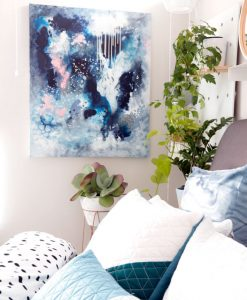 """Dance in the Rain"" original abstract artwork in moody blues and grey by Australian artist Kate Fisher styled in modern master bedroom interior with adairs bedding."