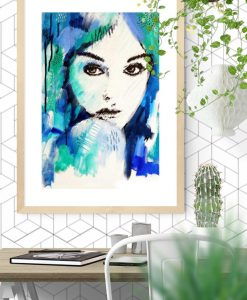 Female-portrait-art-print-Its-a-mans-world-blue-kate-fisher