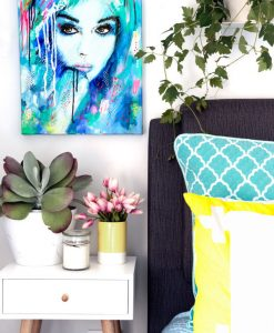 """It's a Man's World"" colourful abstract female portrait original acrylic on canvas artwork by Australian artist Kate Fisher styled in modern master bedroom with adairs and kmart accessories."