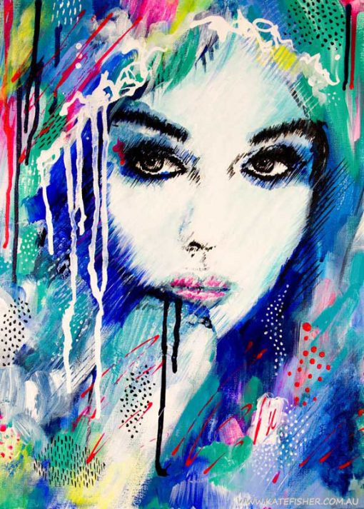 """It's a Man's World"" Colourful semi-abstract female portrait by Australian artist Kate Fisher."