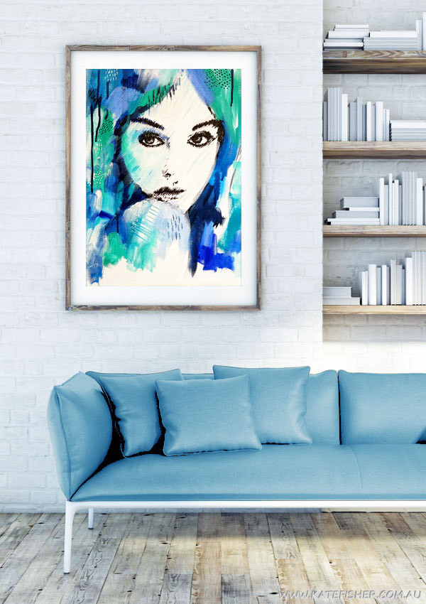 """It's a Man's World"" wall art print in blue and green by Australian artist Kate Fisher. Artwork styled in frame in a modern white living room interior."