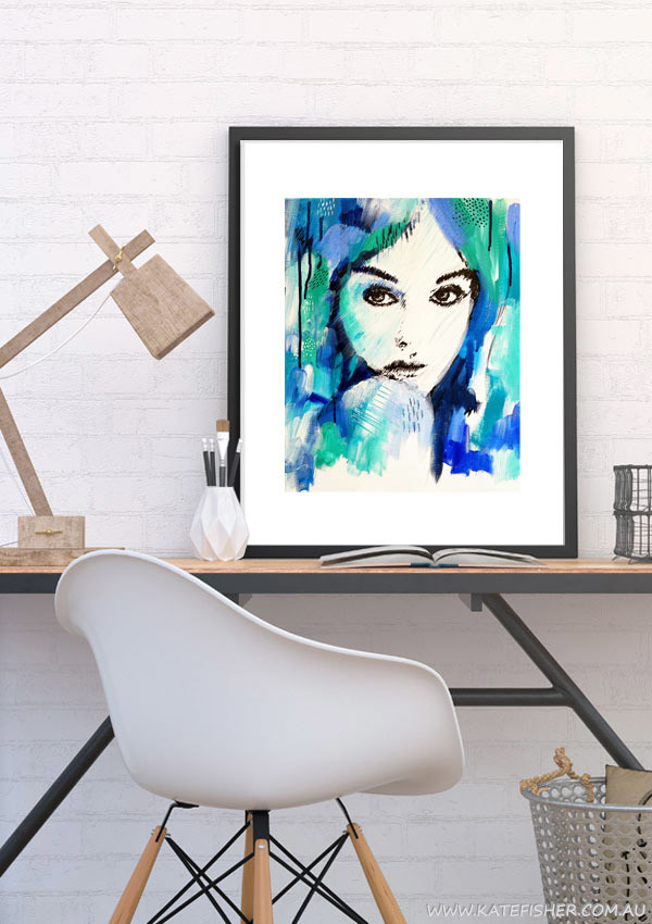 """It's a Man's World"" wall art print in blue and green by Australian artist Kate Fisher. Artwork styled in IKEA frame in a modern scandi home office interior."
