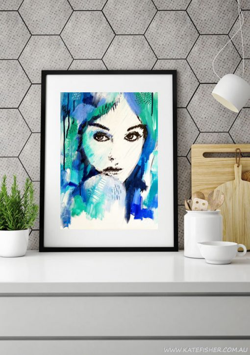"""It's a Man's World"" wall art print in blue and green by Australian artist Kate Fisher. Artwork styled in IKEA frame in a modern grey scandi kitchen."