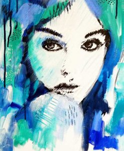 """It's a Man's World"" female portrait wall art print in blue and green by Australian artist Kate Fisher."