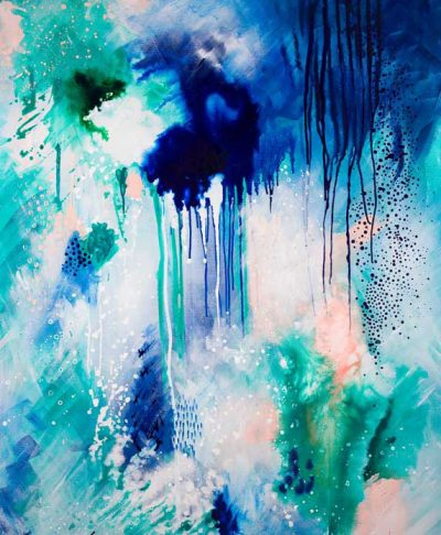 Phthalo Atmosphere 1 original acrylic artwork on canvas by Australian artist Kate Fisher