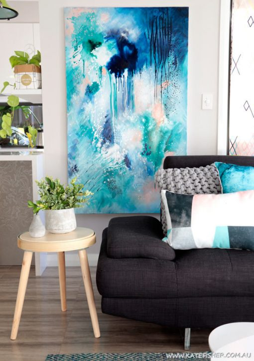 Phthalo_Atmosphere_1_original_abstract_painting_blue_in_living_room_artist_Kate_Fisher