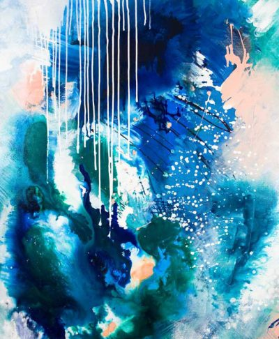 """Phthalo Atmosphere 2"" abstract painting in blue and green fluid style by Australian artist Kate Fisher"