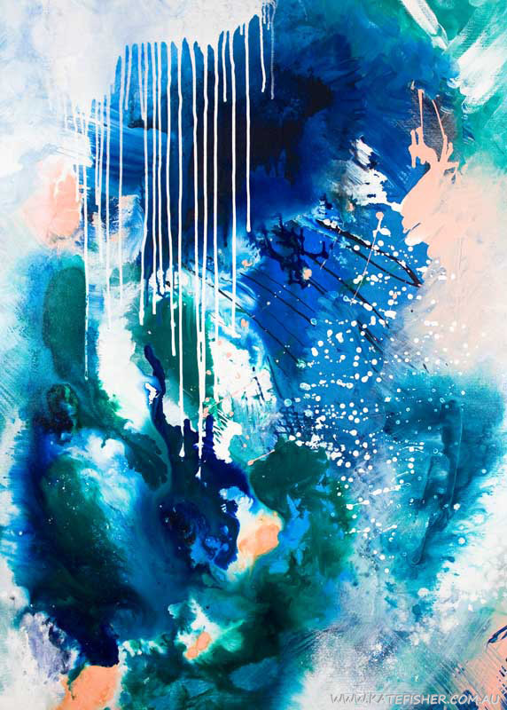 Phthalo Atmosphere Ii Abstract Art Print Kate Fisher Artist