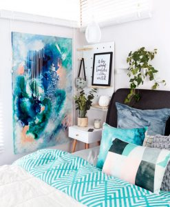 """Phtalo Atmosphere II"" original acrylic on canvas abstract artwork in blue and green by Australian artist Kate Fisher. Artwork styled in modern master bedroom with adairs bedding and kmart items."