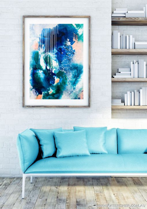 """Phthalo Atmosphere II"" abstract wall art print in blue and green by Australian artist Kate Fisher. Artwork styled in IKEA frame in a modern living room interior."