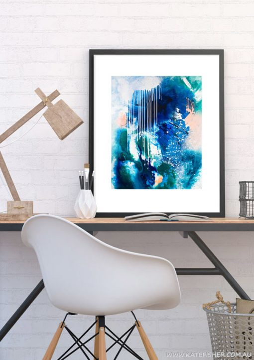 """Phthalo Atmosphere II"" abstract wall art print in blue and green by Australian artist Kate Fisher. Artwork styled in IKEA frame in a modern scandi home office interior."
