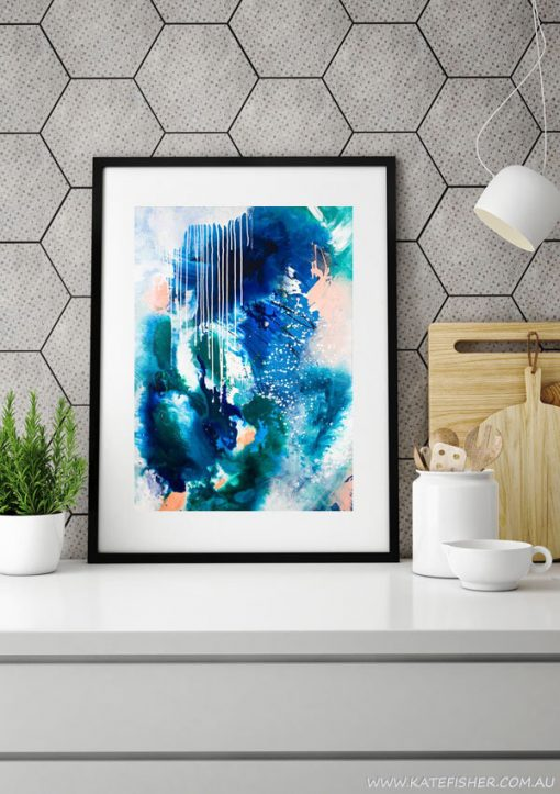 """Phthalo Atmosphere II"" navy blue, green and turquoise abstract wall art print by Australian artist Kate Fisher. Styled in modern grey scandi kitchen."