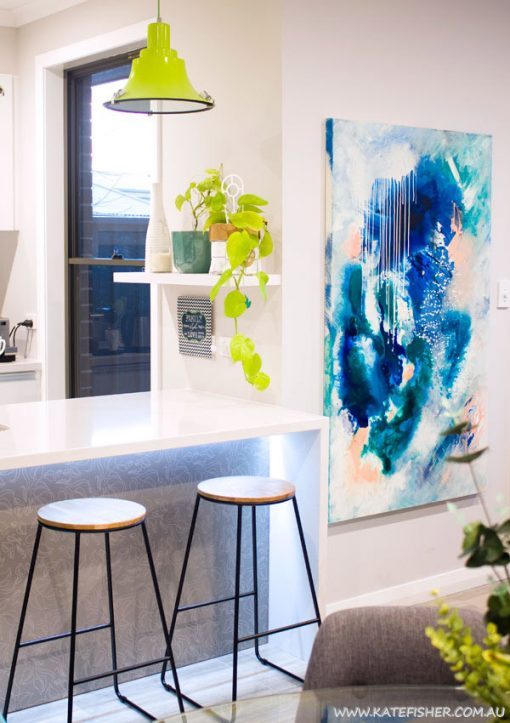 """Phthalo Atmosphere II"" navy blue, green and turquoise original acrylic on canvas abstract artwork by Australian artist Kate Fisher. Styled in modern scandi living room with Kmart stools and accessories."