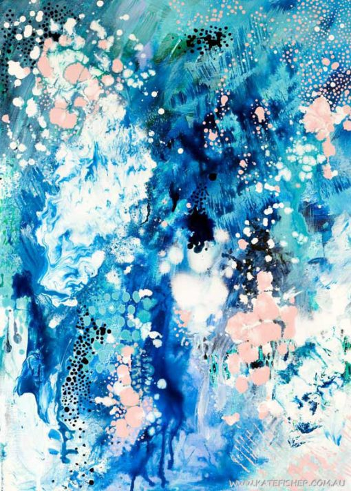 When_Snow_falls_abstract_art_wall_print_blue_50x70cms_Kate_Fisher