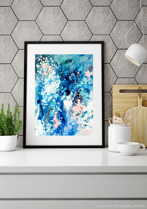"""""""When Snow Falls"""" abstract wall art print in blues and blush by Australian artist Kate Fisher. Styled in modern grey scandi kitchen."""