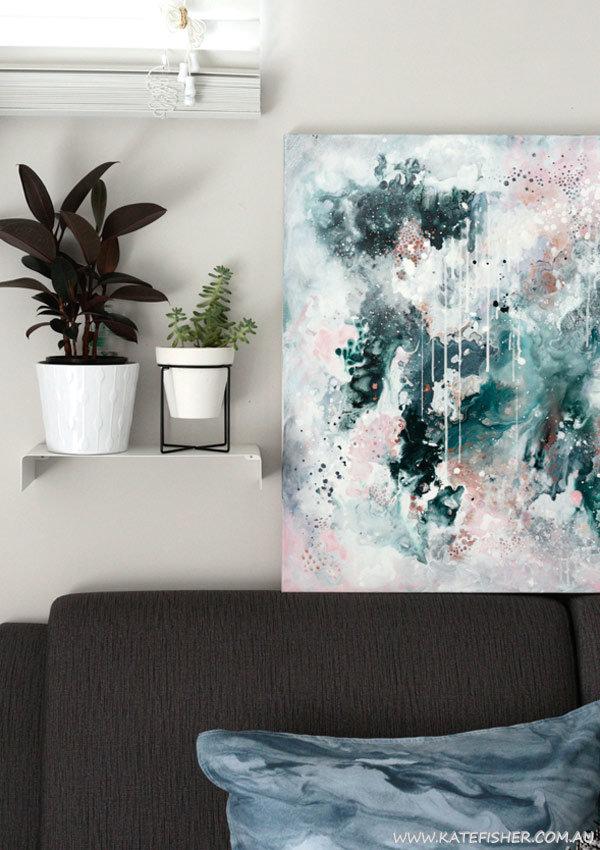 """Nordic Sky"" original abstract artwork to suit scandinavian interiors by Australian artist Kate Fisher"