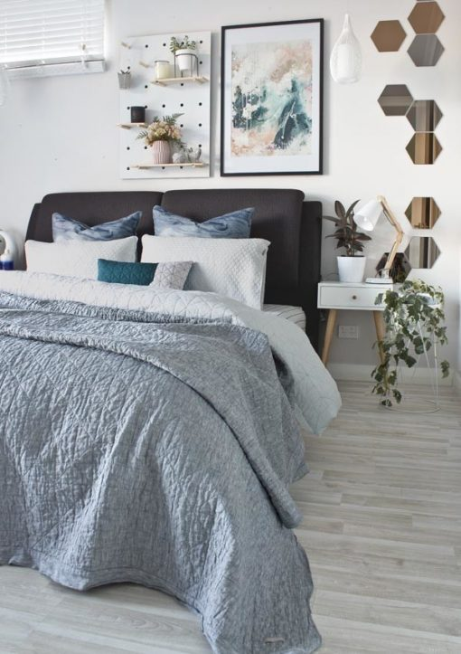 """Nordic Sky - Prelude"" abstract wall art print by artist kate fisher styled in scandi master bedroom"