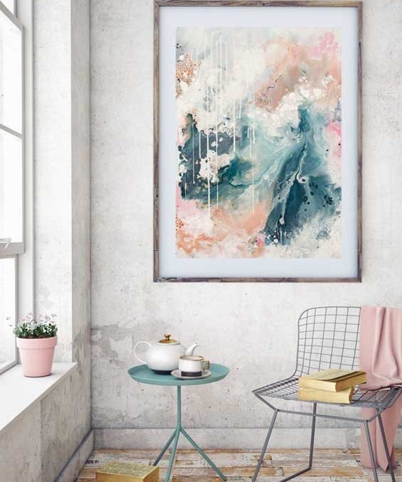 """Nordic Sky"" abstract wall art print in soft pastel neutral colours of copper, grey blue and blush by Australian artist Kate Fisher. Styled in modern living room."