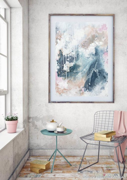 """Nordic Sky_Prelude"" abstract wall art print in soft pastel neutral colours of copper, grey blue and blush by Australian artist Kate Fisher. Styled in modern living room."