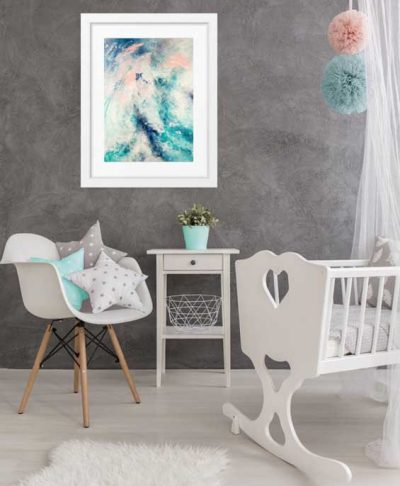 """On My Way"" abstract wall art print in blues and blush pastel pink by australian artist Kate Fisher. Styled in modern girl's baby nursery."