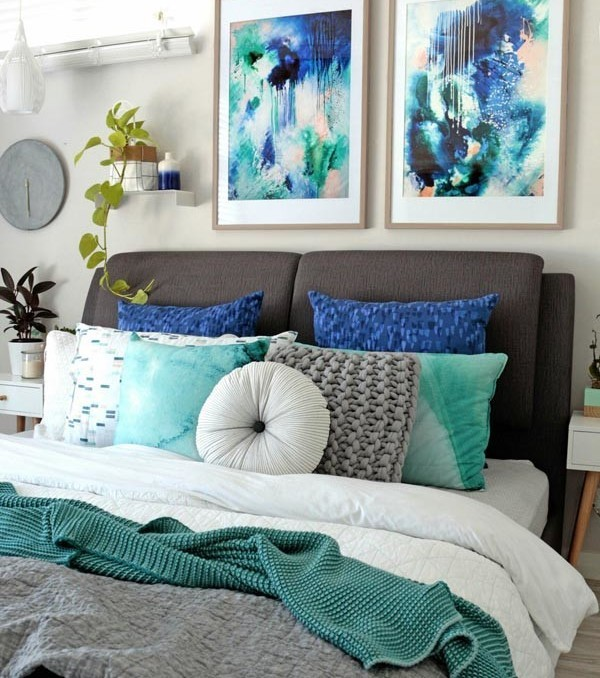 Phthalo I & II abstract art wall prints Kate Fisher artist in modern interior bedroom