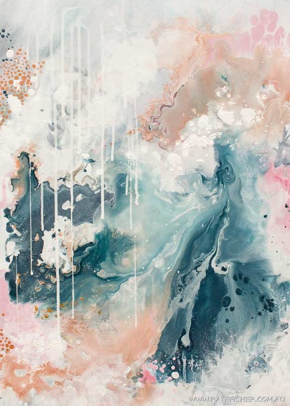 """""""Nordic Sky - Prelude"""" abstract wall art print in neutral colours by Australian artist Kate Fisher."""