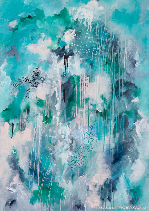 Halcyon abstract original artwork in indigo denim blues, green and pastel pink by Kate Fisher