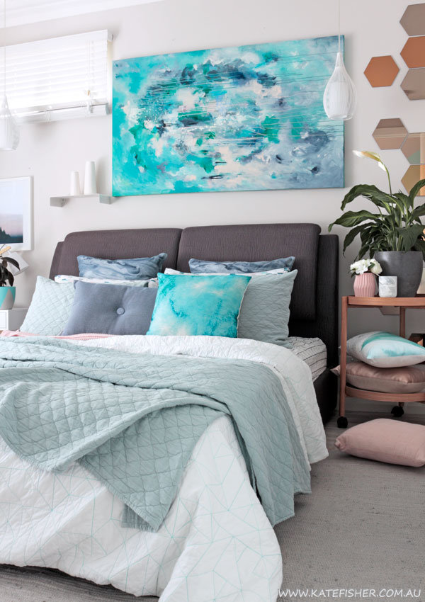 "Contemporary bedroom in grey, sage and blue styled with adairs bedding and Kate Fisher original art ""Halcyon"""