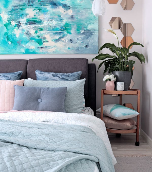"Contemporary bedroom styling in grey, sage and blue with adairs bedding and Kate Fisher original art painting ""Halcyon"""