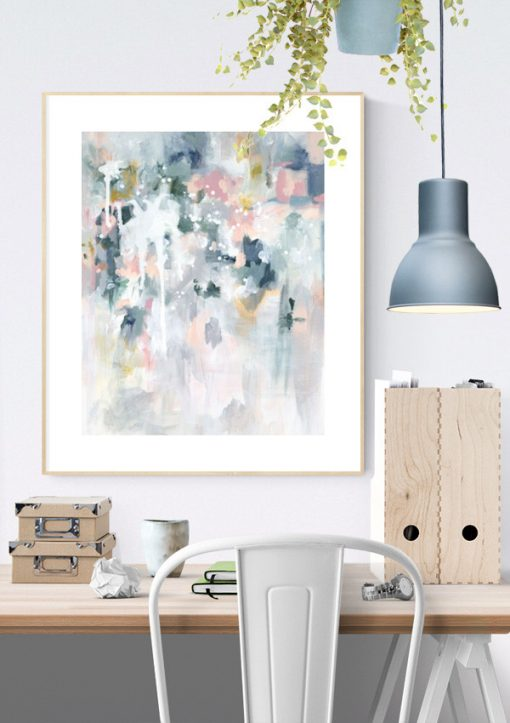 "Wall art print in pastel blues and greys in Scandinavian home office interior. ""Sage For Days II"" by Kate Fisher."