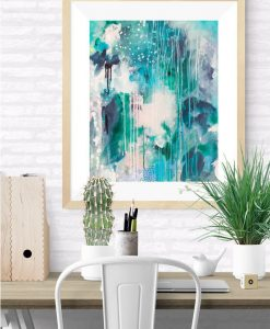 """Halcyon"" abstract art print in blues, turquoise, green and blush pink by Australian artist Kate Fisher"