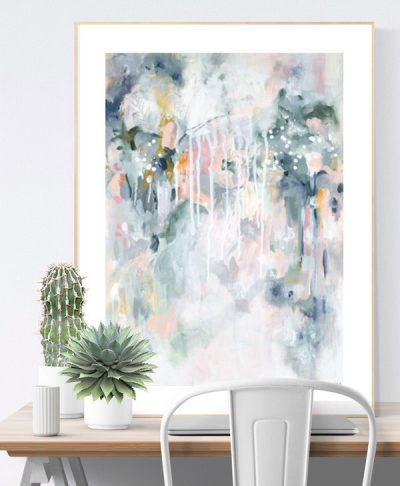 Wall art print in pastel blues and greys in Scandinavian home office interior.