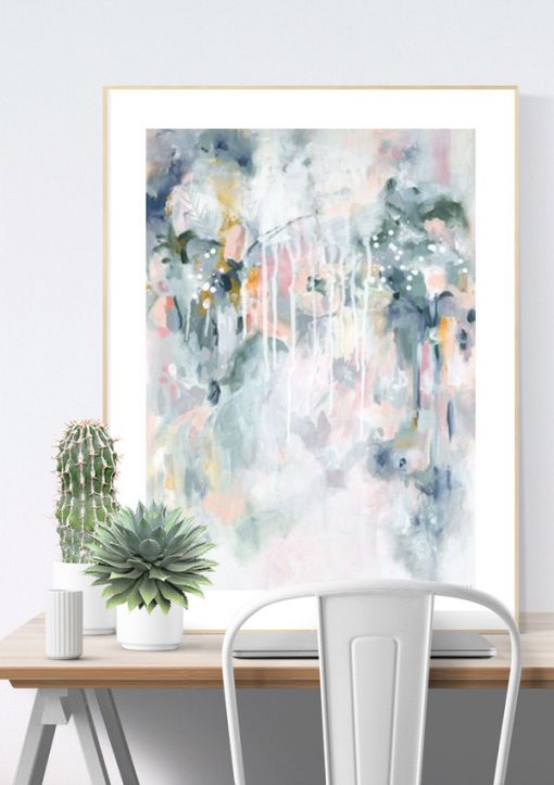 "Wall art print in pastel blues and greys in Scandinavian home office interior. ""Sage For Days I"" by Kate Fisher."
