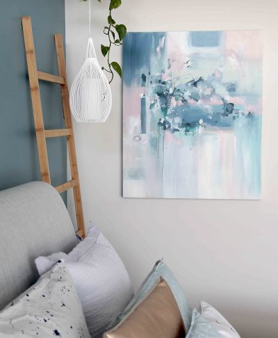 Skyfall abstract art on bedroom wall by Australian artist Kate Fisher