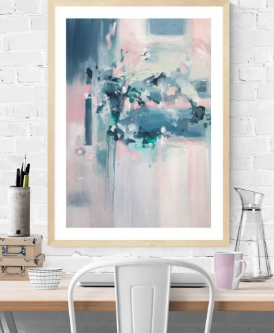 """Skyfall"" pink and blue abstract art print by Kate Fisher art"