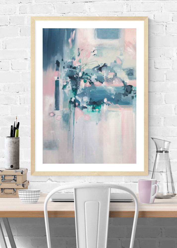 """""""Skyfall"""" pink and blue abstract art print by Kate Fisher art"""