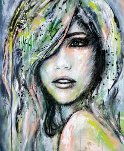Female abstract portrait commission kate fisher art