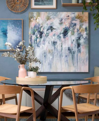 Sage For Days III original abstract art styled in dining room by australian artist kate fisher