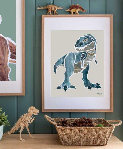 Mr. Blue Rex tyrannosaurus dinosaur print