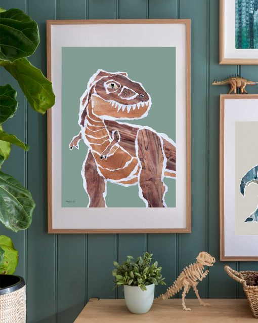 Mr. Brown Rex tyrannosaurs dinosaur poster in boys bedroom by Kate Fisher Boys Live Here brand