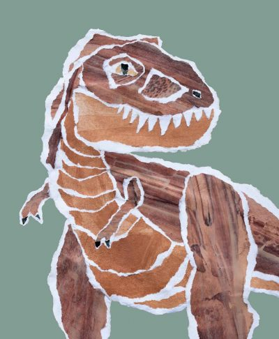 Mr Brown Rex tyrannosaurs dinosaur poster print