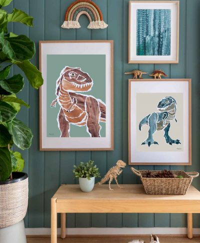 Mr.-Rex-tyranosaurus-dinosaur-prints-styled-in-kids-bedroom-by-Kate-Fisher-Boys-Live-Here-brand