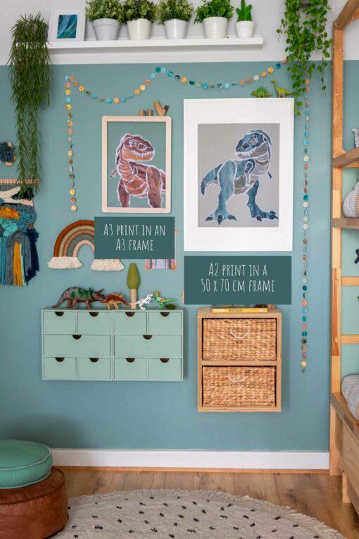Dinosaur T-rex medium poster set frame sizes