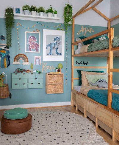 T-rex dinosaur poster pair A2 & A3 in boys bedroom